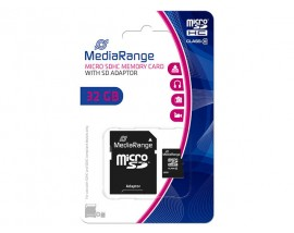 MEDIA RANGE Micro SDHC Memory Card with SD Adaptor 32GB