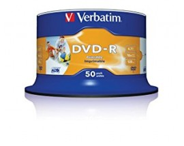 Verbatim DVD-R 120' 4.7GB 16x Print Cake Box x50 (Printable) (43533)