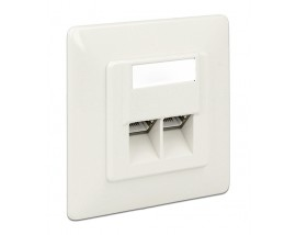 DELOCK Modular Wall Outlet Δικτύου, Cat.6A, LSA, 2 Port
