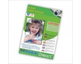 GLOSSY PHOTO STICKER GREEN 150gr,20sheets WATER PROOF 4R