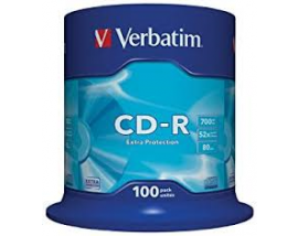 Verbatim CD-R 80' Extra Protection 700MB 52x Cake Box x100 (43411)