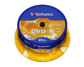 Verbatim DVD-R 120' 4.7GB 16x Cake Box x25 (Printable) (43538)