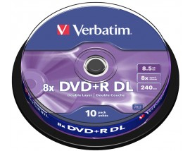 Verbatim 8x DVD+R DL - Dual Layer Blank DVDs - Branded - 43666 - 10 Disc Tub